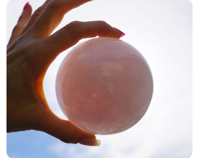 Polished ROSE QUARTZ Sphere 80mm 922g over 2 lbs Crystal Ball from Brazil - This Healing Crystal can Encourages Self Love E88