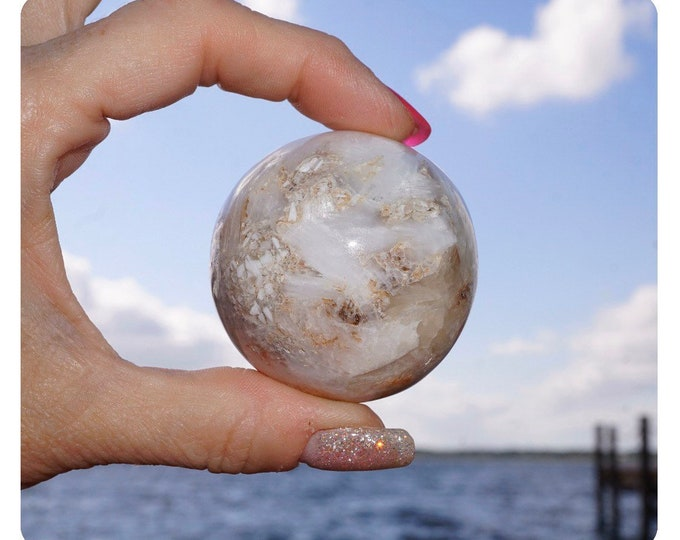 Polished SCOLECITE Sphere - 40mm - This Healing Crystal can provide Deep Inner Peace and Joy - Free Shipping E77