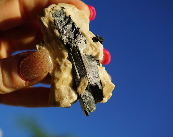 AEGIRINE Cluster from Malawi (Stronger than Black Tourmaline) 1.9oz 65x45x25mm (said to remove negative blocks) l85