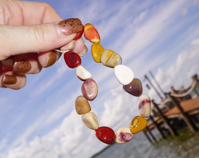 Polished MOOK JASPER bracelet - 10mm nugget beads 7inch braclet - This Healing Crystal can Heal Physical & Emotional Trauma