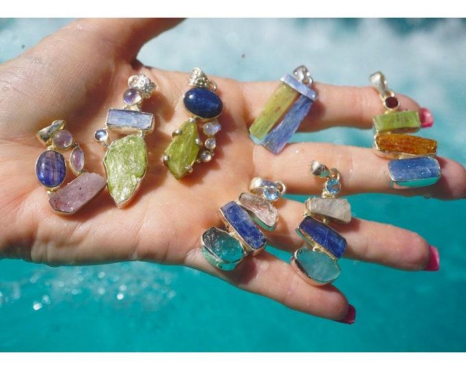 Green, Orange, Blue Kyanite, Pink Kunzite, Rainbow Moonstone Pendants in 925 Sterling Silver - Strong Healing Crystals