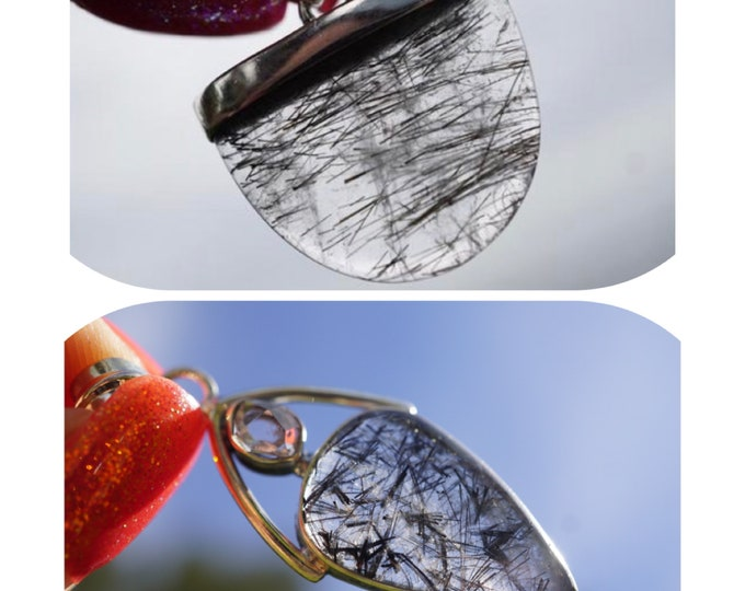 Polished Black Tourmaline in Quartz Pendant (Tourmalated) set in 925 Silver - w Herkimer Diamond - Healing Crystal for protection PXBTQ