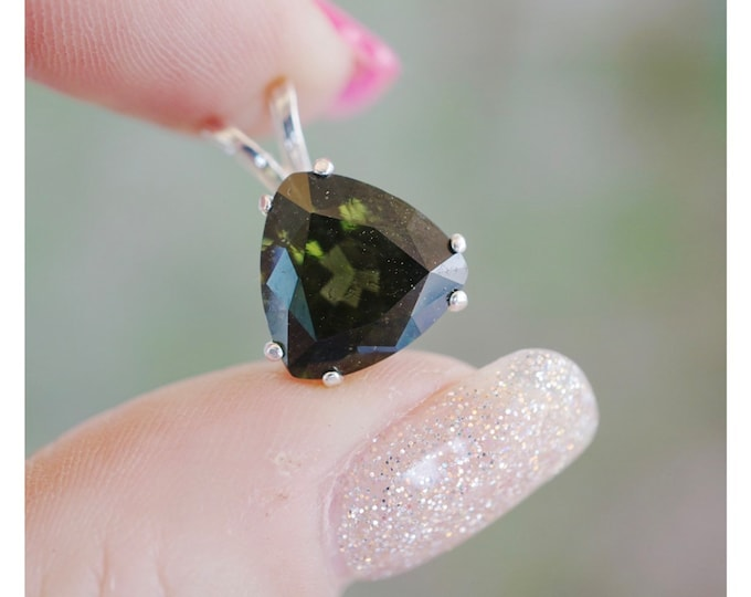 Green Faceted Moldavite Trillion Pendant 6, 8, 10mm or 16mm 925 Silver or 14kt Gold - Healing Crystal for Transformation M701 M702 M703 M766
