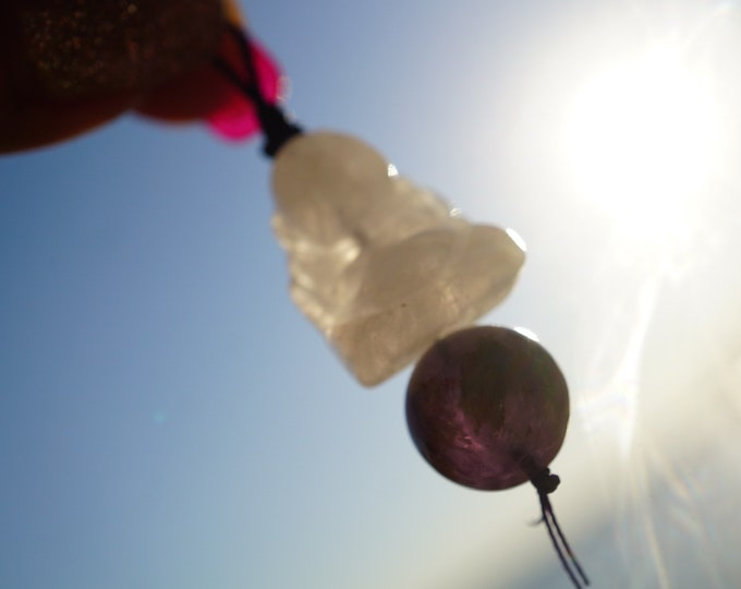 Pink Rose Quartz Buddha Pendent  30mm Purple Thread -add a Cord - w/ Super 7 Sphere Bead - This Healing Crystal can feel like love JWRQ1
