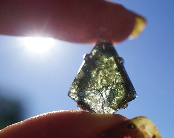 "Raw MOLDAVITE Pendant - Fine Sterling Silver - Healing Crystal - Orange Sunstone Crystal - Genuine Moldavite 3.4g 1"" AK98"