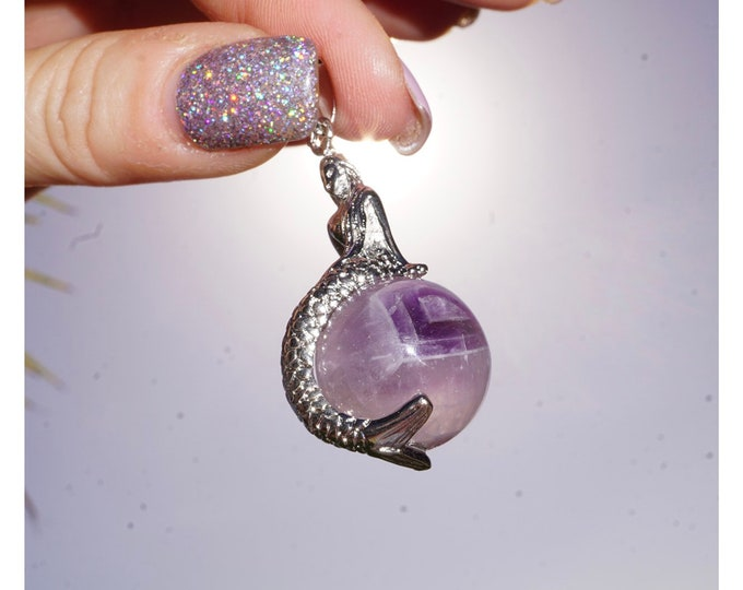 """Purple AMETHYST Sphere Pendant - Mermaid Necklace 40mm - 18"""" Stainless Steel Chain - This Healing Crystal can help you with Addictions P88"""