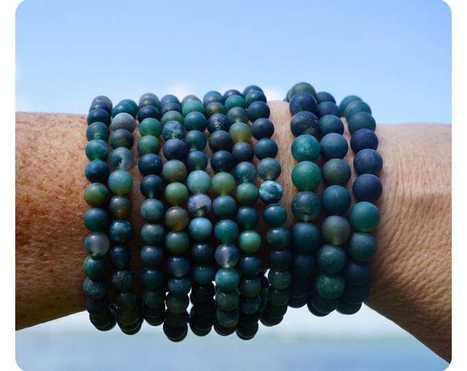 Green MOSS AGATE Bracelet -  6 and 8mm - This Healing Crystal can Attract New Beginnings & Relationships