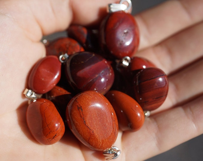 Tumbled RED JASPER pendant 1/2 - 1 inch - Minimalist Jewelry Gemstone Pedant - This Healing Crystal is the Stone of Security & Passion - B4