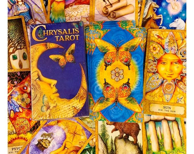 CHRYSALIS Tarot Card Deck kit- Medieval & Mythological deck - 78 Card Tarot Deck, Digital Guidebook, Quartz Crystal Point, Tarot Bag - TCCT
