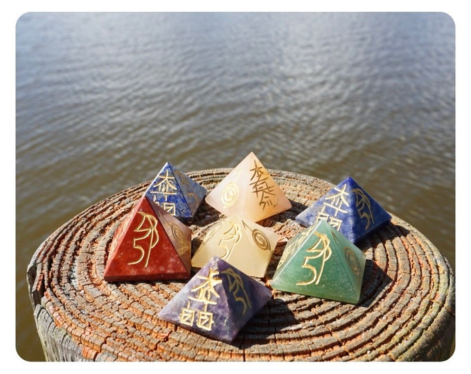 Carved CHAKRA Pyramid Set with Reiki Symbols in Gold Paint - Or buy Individual Amethyst, Lapis, Sodalite, Aventurine, Red Jasper - 30mm