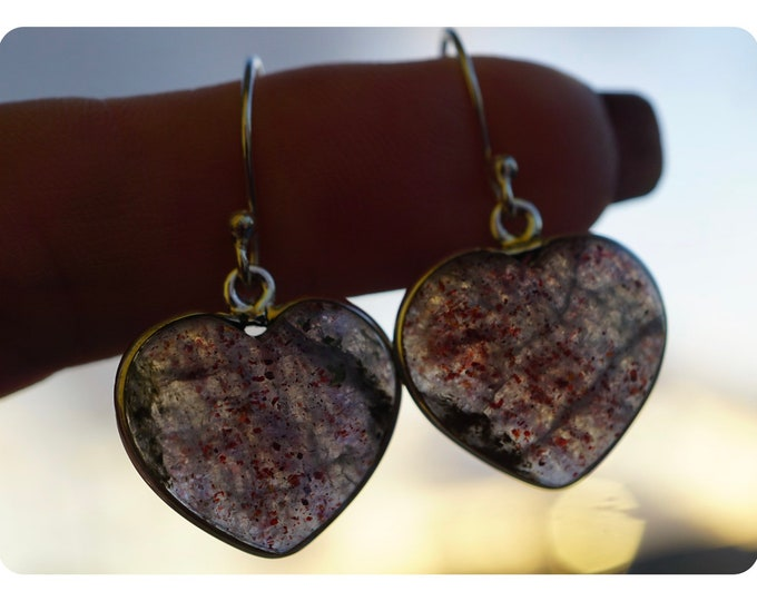 "Polished Black SUNSTONE with IOLITE Earrings in 925 Sterling Silver - 1.3"" 4.2g - Awesome gold flash - Said to Increase Happiness Eje01"
