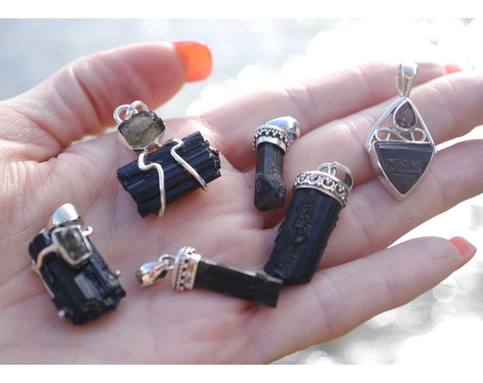 Raw Black TOURMALINE Pendants and MOLDAVITE PENDANT 925 Silver - This Healing Crystal will Protect and Enlighten BN1