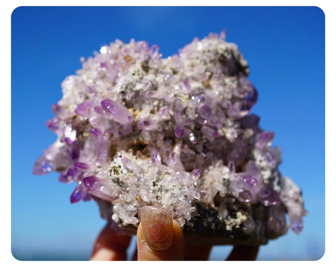 Raw Vera Cruz AMETHYST Cluster - Grade A Deep Purple Points - This Healing Crystal can be Meditative and Spiritual 750g 130x100x75mm G81