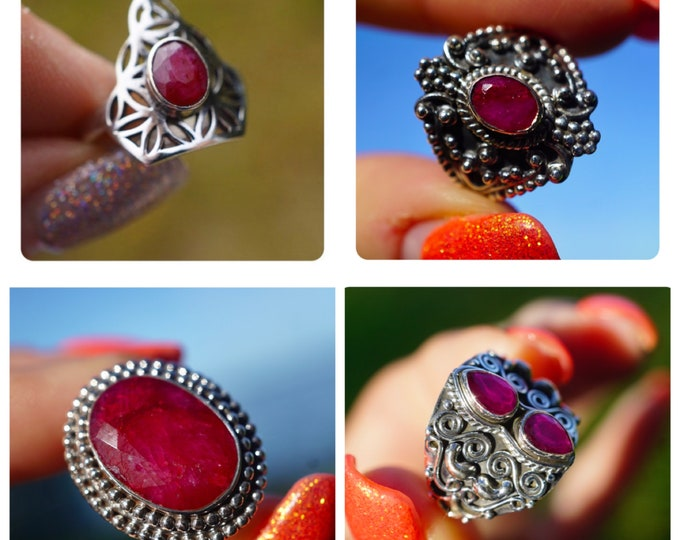 Red RUBY Ring 925 Sterling Silver Size 7.5 - Flower of Life Ring Sacred Geometry Design - This Healing Crystal can increase Passion RRB72