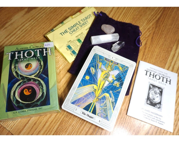 Learn THOTH TAROT Cards Kit - by Aleister Crowley - New Sealed 78 cards w Guidebook, Three Crystals & Velvet Tarot Bag