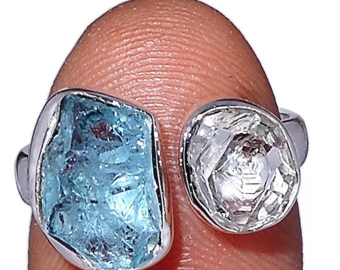 Raw or Rough Aquamarine & Morganite Ring - Sizes 5.5, 6, 7, 8 8.5 set in 925 Silver - This Healing Crystal can be a stress reducer RXAQ3