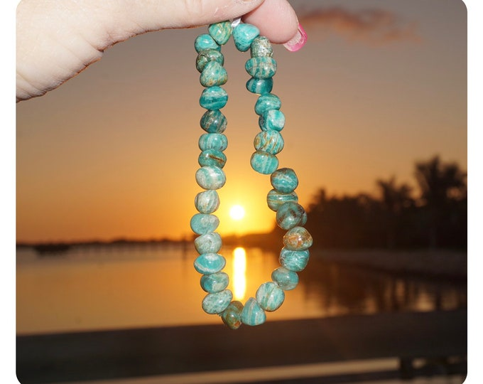 """Polished AMAZONITE Bracelet ~ 7.25"""" Freeform Nugget Beaded bracelet ~ This Healing Crystal can assist with fear and anxiety B88"""