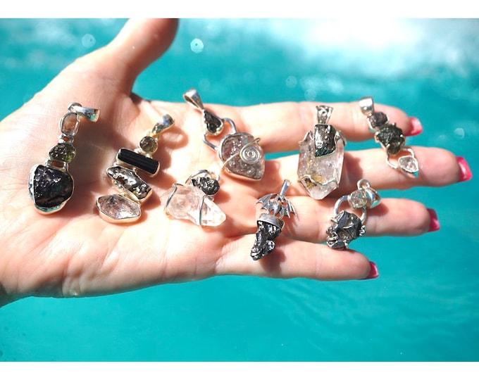 Raw Tibetan Black Quartz Pendant - with Meteorite Campo Del Cielo & Moldavite - 925 Silver - STRONG Healing Crystals