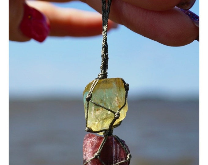 """Raw GOLD APATIATE & Rubellite BoHo Crystal Hemp Necklace adjustable Emerald Beads - This Healing Crystal can Control your Apatite 16-26"""""""