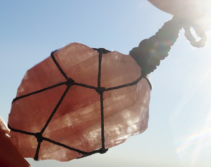 Raw Pink Calcite Macramé Pendant - Fluorescent Mangano Calcite ~ This Healing Crystal has a gentle loving frequency BW24