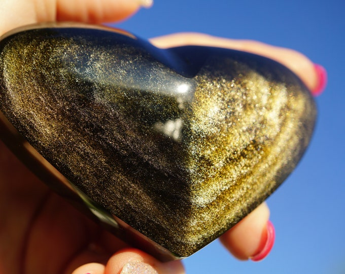 Gold Sheen Black OBSIDIAN Heart - This Healing Crystal is loved by collectors; also can cut negative ties - 90x60x30mm - 6.7oz L89
