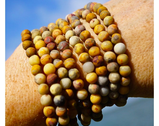 Yellow CRAZY Lace AGATE Bracelet - 6mm Matte Beaded Bracelet - This Healing Crystal can give you Resilience and Strength