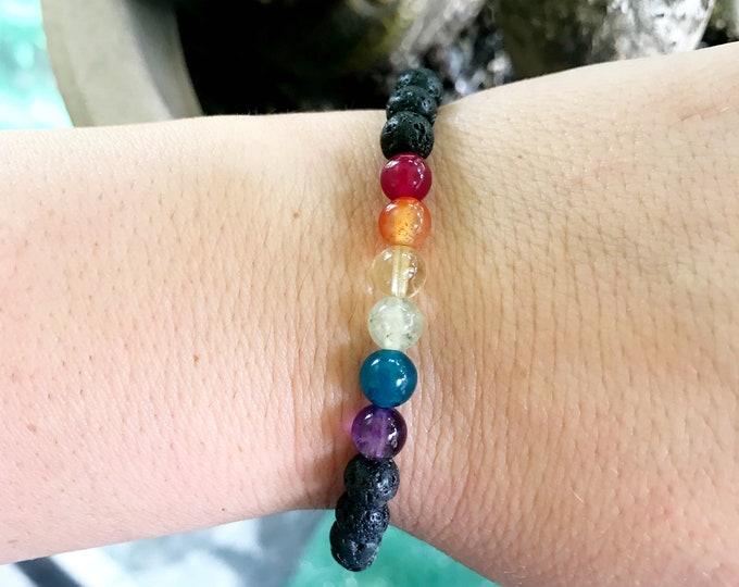 Polished CHAKRA Bracelet w High Quality Beads: Amethyst, Apatite, Jade, Carnelian,Red Agate, Black Tourmaline - 7 inch MK