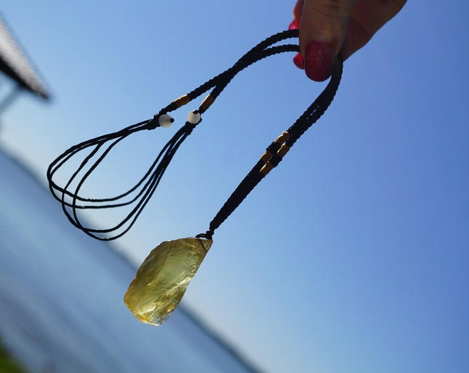 """Raw CITRINE Necklace - Yellow Crystal Necklace Hemp  18-24"""" inch - This Healing Crystal can bring Prosperity - Boho Necklace NEB01"""