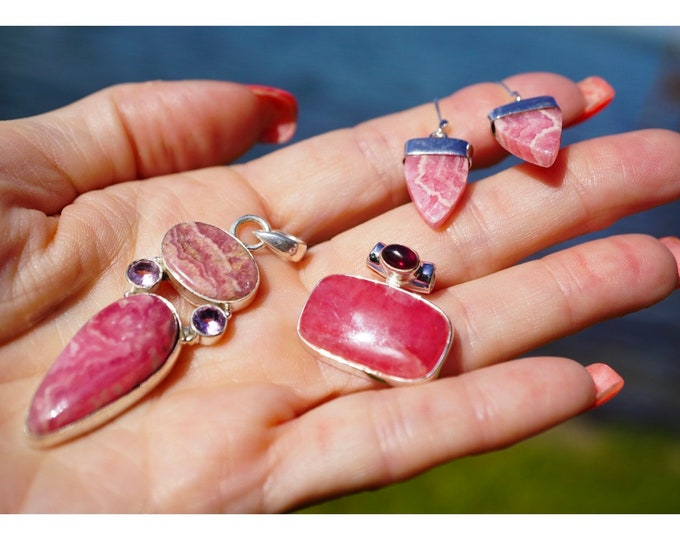 Polished RHODOCHROSITE Crystal Pendant Wrapped with 925 Sterling Silver Wire This Healing Crystal has a Love and Balance Frequency HD808