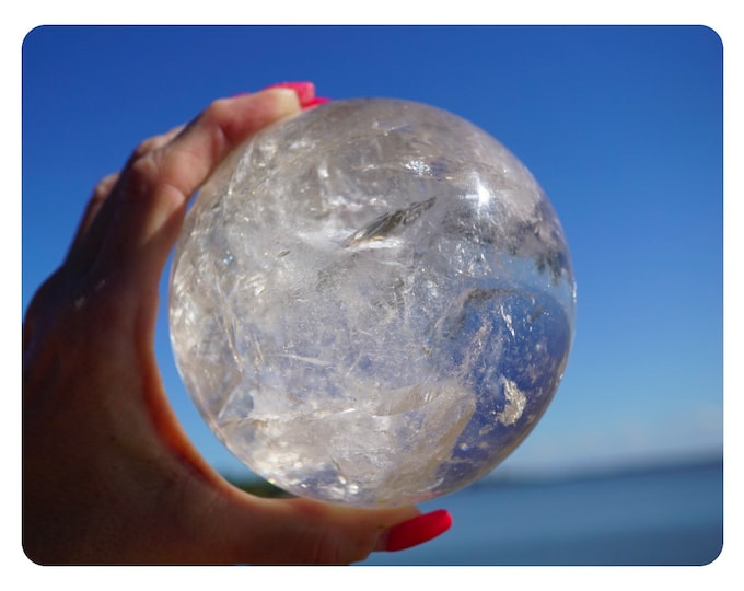 Polished Clear Crystal Ball Quartz Clear Quartz Sphere Rainbows! 95mm 3.5 lbs -This Healing Crystal can be fully Programed to Heal You BA15