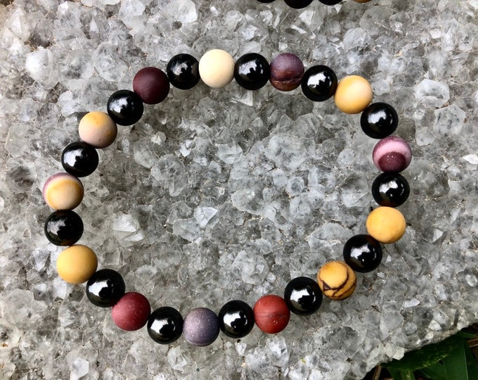 Polished MENS SHUGITE high in noble elite beaded 8 mm bracelet with Mook Jasper  8 inches (Heals Deep and Protect from harmful EMF energy