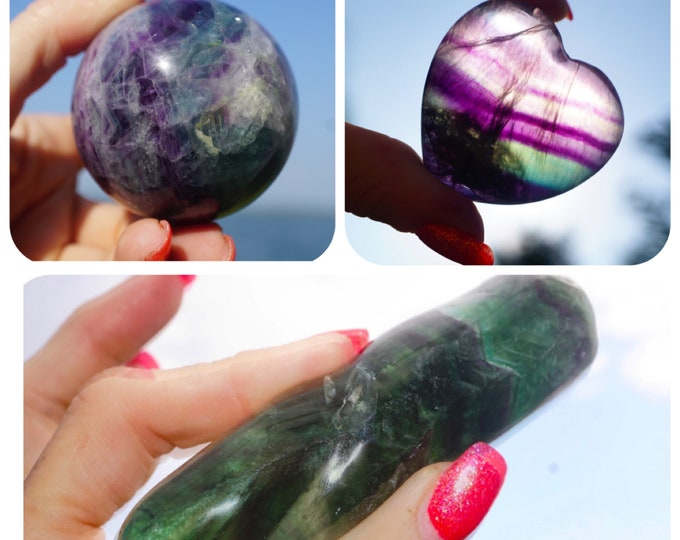 Carved Rainbow FLUORITE from Brazil - 100mm Wand, 55mm Sphere and 40mm Hearts - This Healing Crystal can balance emotions and absorb pain.