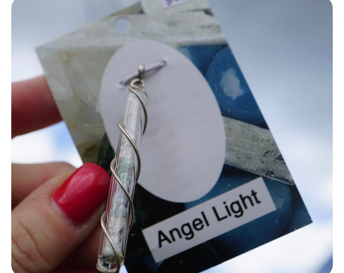 Azeztulite, Seraphinite, Danburite and Angelite Pendant ANGEL LIGHT~Quartz Crystal Vial Pendant to Amplify and Spiraled in 925 Silver HR454
