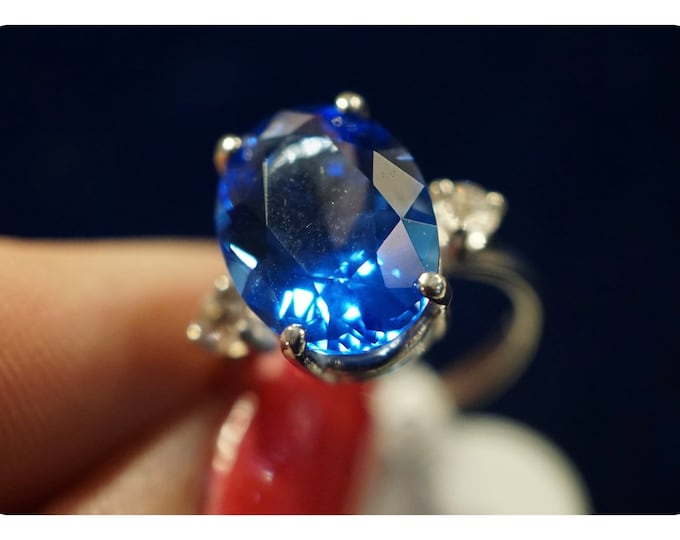 Faceted Siberian BLUE QUARTZ Ring - 10x8mm 925 Silver or 14kt Gold - ALL Sizes 4 5 6 7 8 9 10 11 12 13 14 - Blue Healing Crystal P220dan