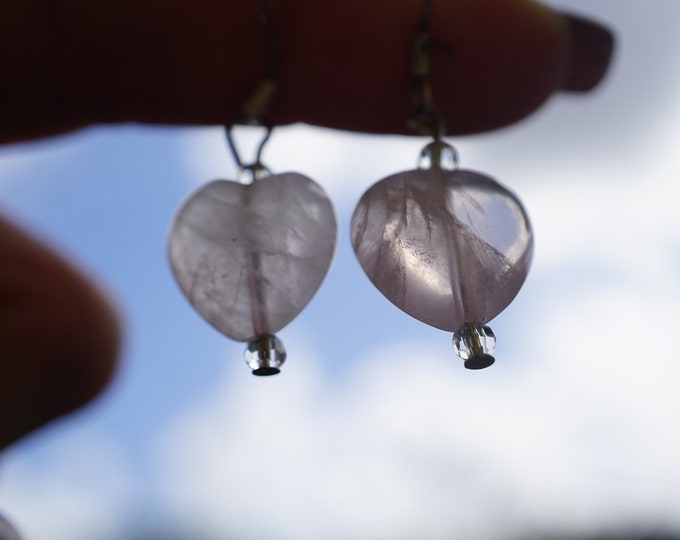 Polished ROSE QUARTZ Heart Earrings - 1.5 inches Set in 925 Silver - This Pink Healing Crystal can provide a loving frequency