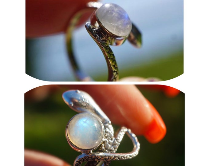 Faceted Rainbow MOONSTONE Snake Ring Size 7 in 925 Silver - This Healing Crystal can make you feel Beautiful RXMS3