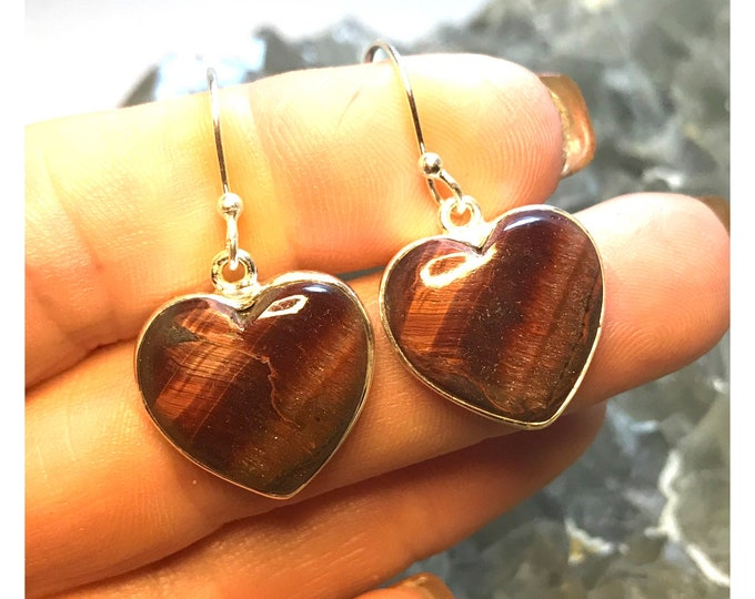 """Polished Red TIGER EYE Heart Earrings in 925 Sterling Silver 1.25"""" ~ This Healing Crystal can be the stone of willpower and strength"""