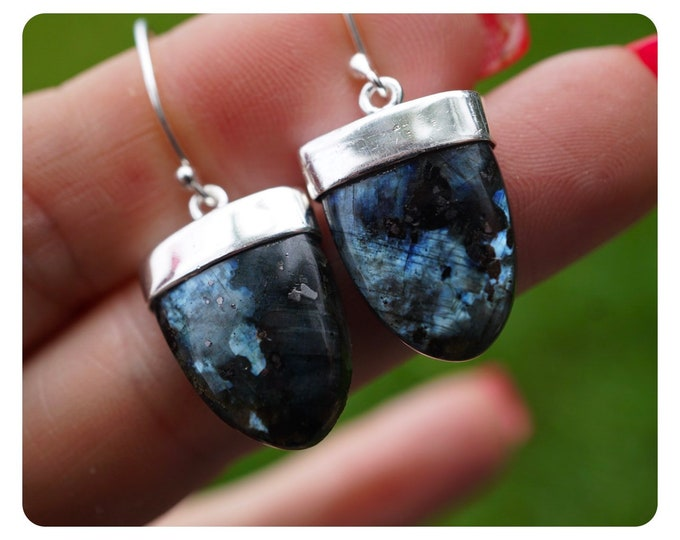 Carved Black LABRADORITE Earrings - LARVIKITE - FUll of FIRE - This Healing Crystal can provide Magic & Protection EXBL1