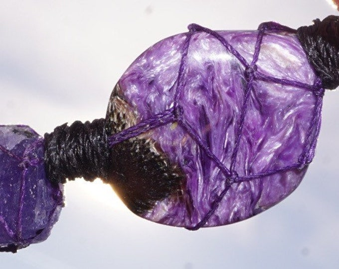 CHAROITE with TANZANITE Solid Polished Hemp Pendant. (said to assist you to develop psychic power) BW26