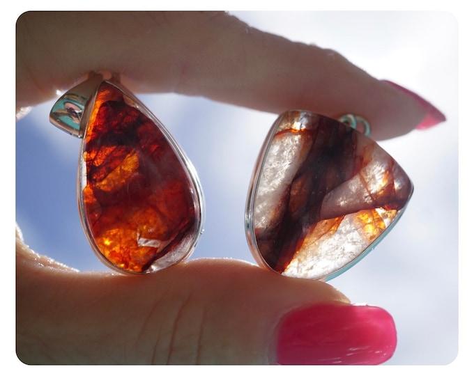 Red Hematoid Quartz Pendants - 28mm Quartz with Red Hematite - Shaman Dream Stone - full of sparkle PHQ1