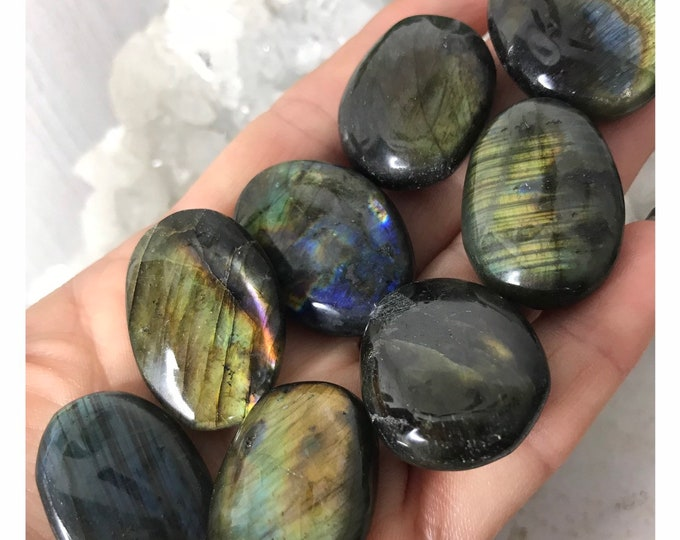 """Tumbled LABRADORITE Stone Crystal w Colorful Grade AA Flash - Medium 3/4 - 1"""" in Size - This Healing Crystal can protect you and Magic B3"""
