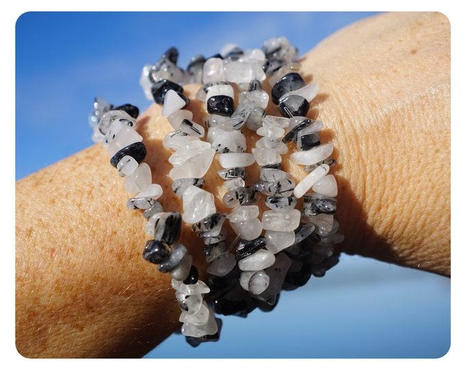 "Black Tourmaline in Quartz -Bracelet - Tourmalated Quartz Chip Bracelet - Black Stone 1/2-3/4"" - This Healing Crystal can Ground You"