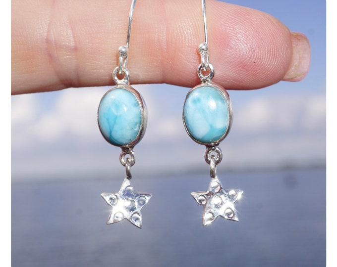 """Polished Blue LARIMAR Earrings - Blue Crystal Star Earrings - 925 Silver 1.75"""" 3.6g - This Healing Crystal can Defuse Anger Bring Calm JA44"""