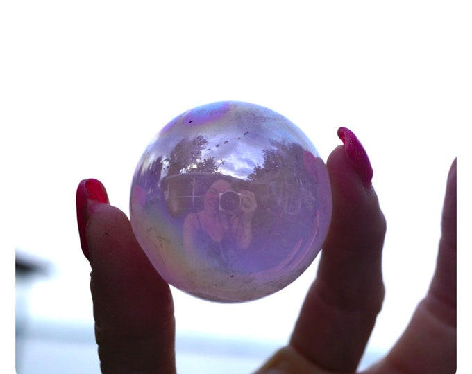 Pink Aura ROSE QUARTZ Sphere 44mm  - This Healing Crystal provide a Loving Frequency and Encourages Self Love XRQA44