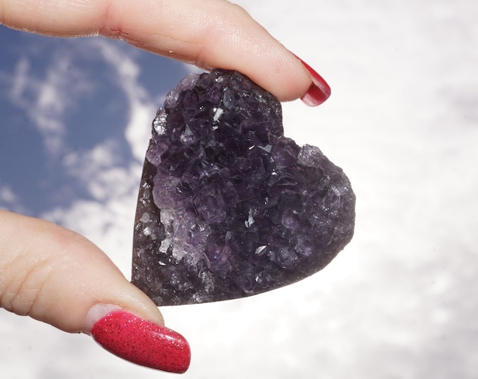 Polished Natural AMETHYST  Druzy Heart 40-50mm 45-120g - This Healing Crystal can Assist with addictive behavior, Cleansing and Healing Ro8
