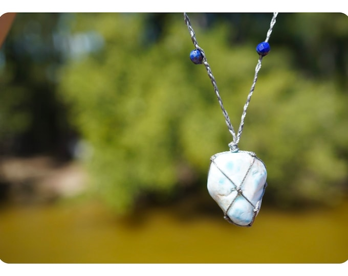 """Raw LARIMAR with Lapis Beads Necklace - Adj. Crystal Hemp Wrap Macreme 18-24"""" - These Healing Crystals can Sooth Anxiety mk"""