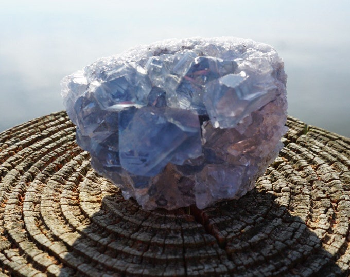 Blue CALCITE Crystal Cluster 50x65x40mm  - This Healing Crystal can Provide Insight and Calming Energy 220g