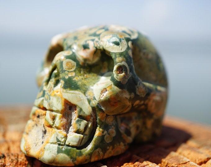 Carved UNAKITE JASPER Skull  - 80 Grams 50x40x28mm - This Healing Crystal can remove Emotional Blocks C25