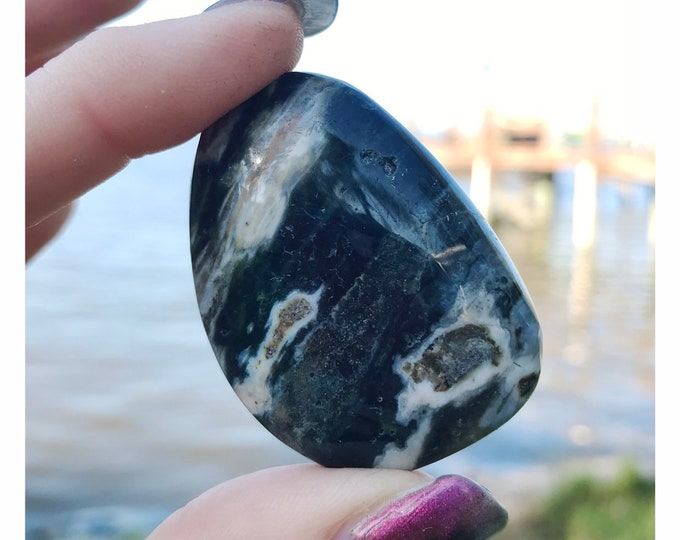 Polished OCEAN JASPER Palm Stone with Druzy 50mm 30g - This Blue Healing Crystal can Inspire deep healing and stress relief