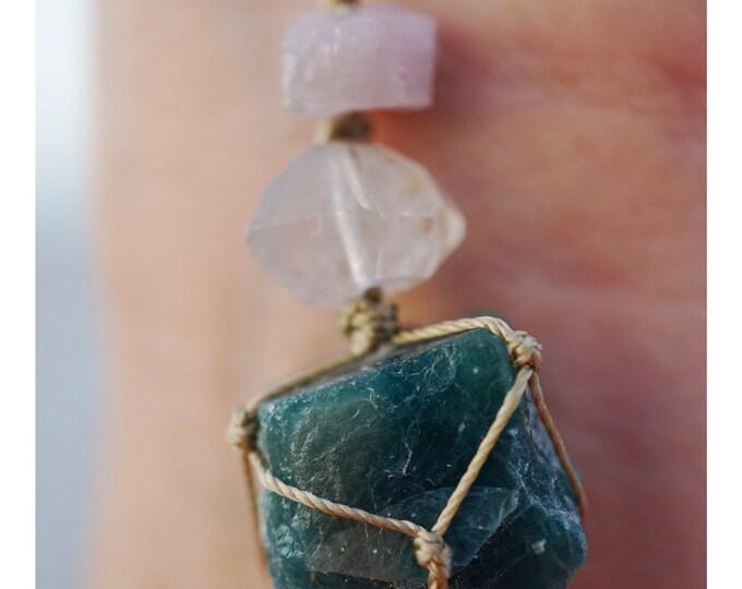 Raw Sapphire with Tibetan Black Quartz Necklace with Pink Tourmaline - Crystal Hemp Wrap Macramé - These Healing Crysyals can HealbYou HW45